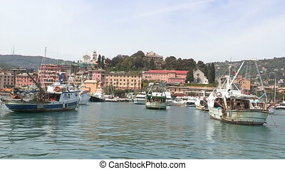 Port of Santa Margherita Ligure seen from the sea, with...