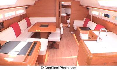Interior of luxury sailboat
