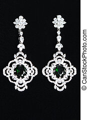 Silver earrings with jewels