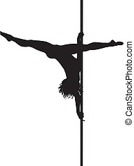 Pole dancer woman vector silhouette Separate layers