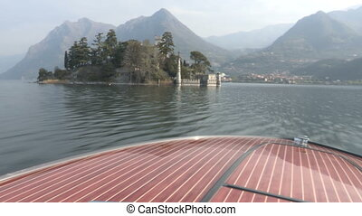 Castle on island on a lake - Castle on Loreto island on Iseo...