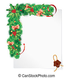Christmas Frame with Holly Berry, Fir Branches, Mistletoe,...