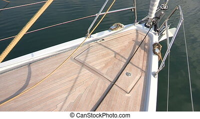 Bow of sailing boat docked in the port
