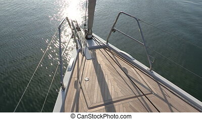 Bow of sailing boat navigating in the sea