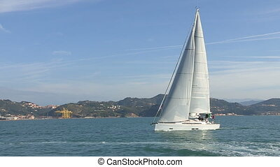 Sailing boat with open sails - Sailing boat navigating with...