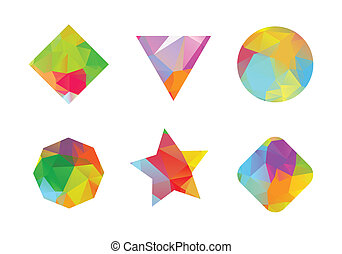 Set of colored geometric polygonal shapes. - Set of colored...