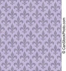 Purple Fleur De Lis Textured Fabric Background that is...