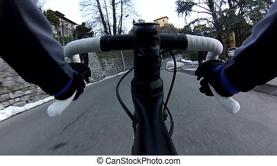 Cyclist riding professional bike, camera mounted on the bike...