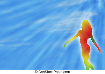 dancing rainbow girl and sunrays during summer to express...