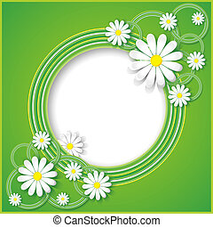 Abstract green background with flower chamomile Floral frame...