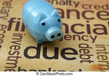 Piggy bank and debt concept