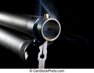 Smoking Shotgun - Single barrel from a shotgun that has...