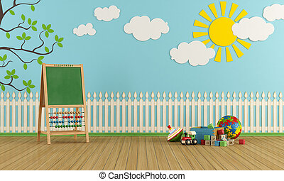 Playroom with wall decor, toys and blackboard with abacus -...