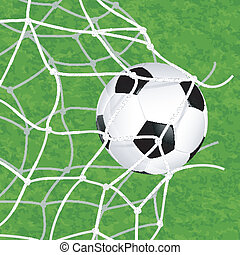 Soccer Ball in Net - Soccer Concept - Goal. Soccer Ball in...