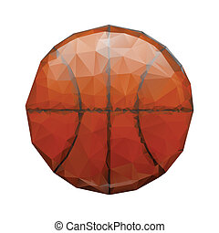 Abstract geometric polygonal basketball. Wrinkled paper....