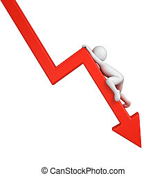 graph down - red graph down with clambering 3d human