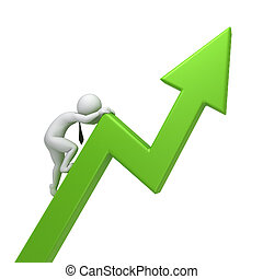success in business. 3d human climbs the green arrow, 3d...