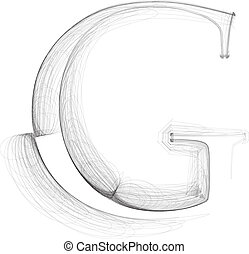 Hand draw font LETTER G Vector illustration