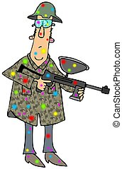 Man with a paintball gun - This illustration depicts a man...