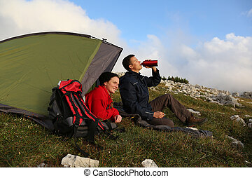 Camping in the mountains in the evening