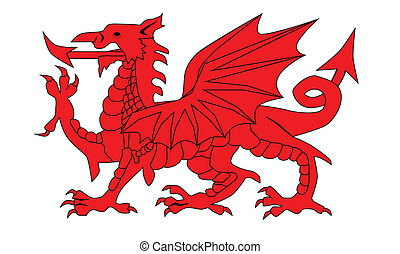 Welsh Dragon - The Welsh Dragon isolayed over a white...