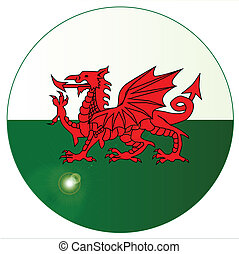 National Flag of Wales Button - The national dragon flag of...