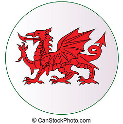 Welsh Dragon Button - The Welsh Dragon button isolayed over...