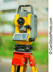 an used electronical theodolite close up