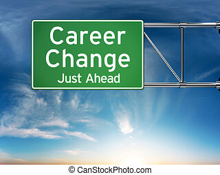 Career change just ahead concept depicting a new choice in...