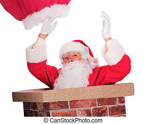Down Through the Chimney - Santa Claus slipping down through...