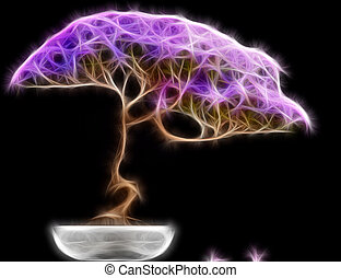Abstract fractal Bonsai tree side view with a black...