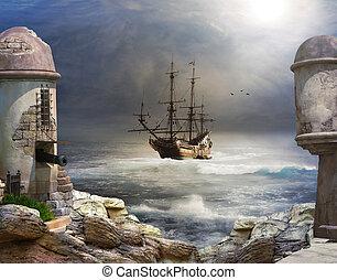 a, pirata, baía