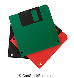 Diskette - Coloured diskettes isolated over white background