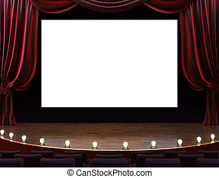 Cinema movie theater with curtains, screen, seats and...