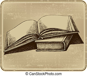 Open book, hand-drawing. Vector illustration.