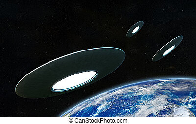 UFO - 3d render of flyng saucers around the Earth