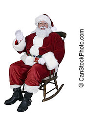 Rocking Santa - Santa sitting in rocking chair and waving.
