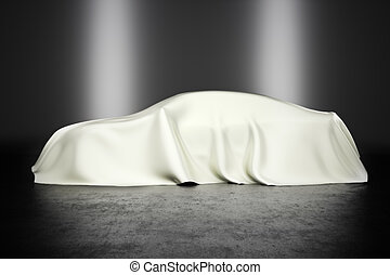 Covered car with studio lighting, innovation technology or...