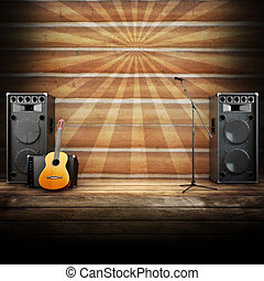 Country music stage or singing background, microphone,...