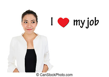 I love my job for human resources m - Business woman looking...