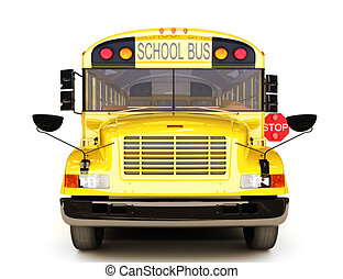 School bus front view on a white background