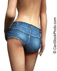 Female wearing short shorts
