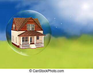 House in a bubble, room for text or copy space.