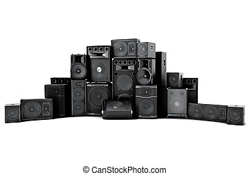 Large group of speakers in a row - Loud or abused concept on...