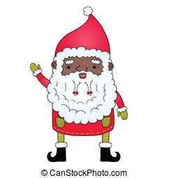 African american Santa Claus Cute holiday illustration