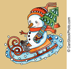 Christmas design. Watercolor snowman with christmas tree in...
