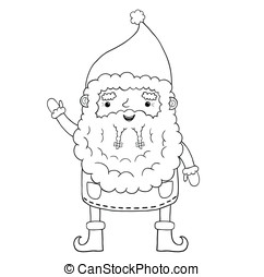 Santa Claus contour. Christmas character cute illustration