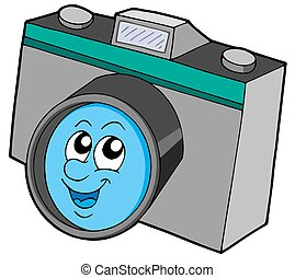 Cute camera with smiling face - isolated illustration.