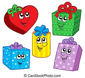 Cute Christmas gifts collection - isolated illustration.