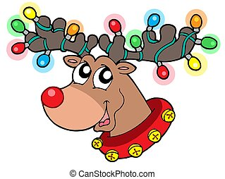 Cute reindeer in Christmas lights - isolated illustration.